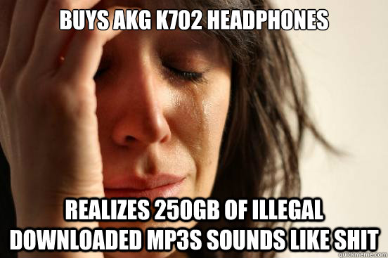 Buys AKG K702 headphones realizes 250GB of illegal downloaded mp3s sounds like shit - Buys AKG K702 headphones realizes 250GB of illegal downloaded mp3s sounds like shit  First World Problems