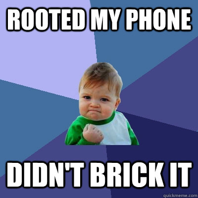 Rooted my phone didn't brick it - Rooted my phone didn't brick it  Success Kid