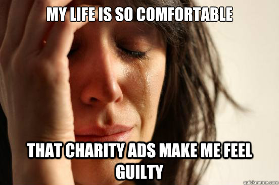 My life is so comfortable that Charity ads make me feel guilty - My life is so comfortable that Charity ads make me feel guilty  First World Problems