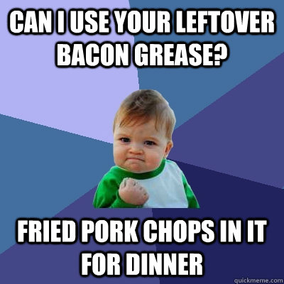 Can I use your leftover bacon grease? Fried pork chops in it for dinner - Can I use your leftover bacon grease? Fried pork chops in it for dinner  Success Kid