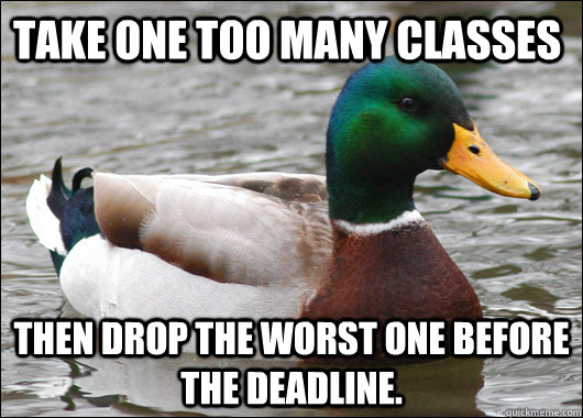 Take one too many classes then drop the worst one before the deadline. - Take one too many classes then drop the worst one before the deadline.  Actual Advice Mallard