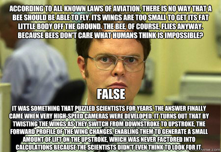 According to all known laws of aviation, there is no way that a bee should be able to fly. Its wings are too small to get its fat little body off the ground. The bee, of course, flies anyway. Because bees don't care what humans think is impossible? It was  Dwight