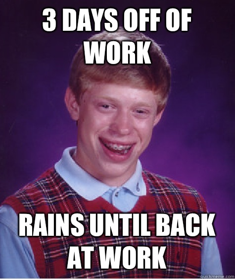 3 days off of work Rains until back at work - 3 days off of work Rains until back at work  Bad Luck Brian