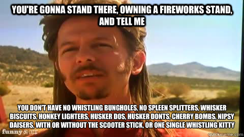 You're gonna stand there, owning a fireworks stand, and tell me you don't have no whistling bungholes, no spleen splitters, whisker biscuits, honkey lighters, husker dos, husker donts, cherry bombs, nipsy daisers, with or without the scooter stick, or one  joe dirt