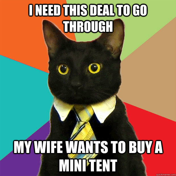 I need this deal to go through my wife wants to buy a mini tent - I need this deal to go through my wife wants to buy a mini tent  Business Cat