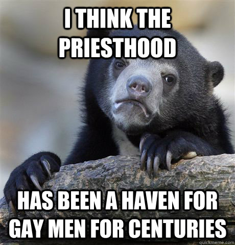 I think the priesthood has been a haven for gay men for centuries - I think the priesthood has been a haven for gay men for centuries  confessionbear
