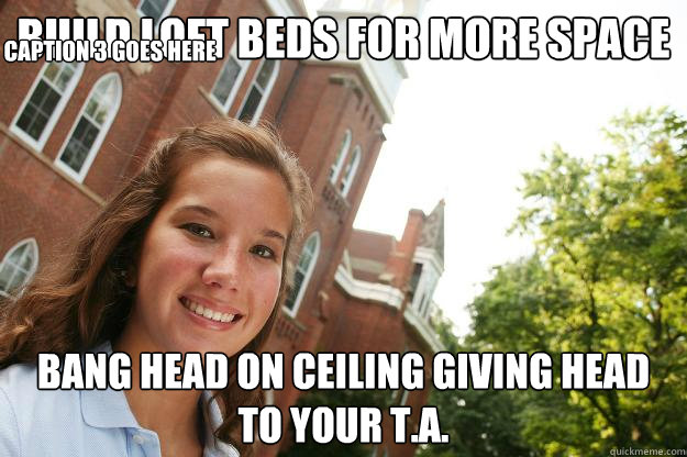 build loft beds for more space bang head on ceiling giving head to your T.A. Caption 3 goes here
