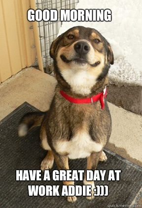 Good Morning Have A Great Day At Work Addie Good Dog Greg