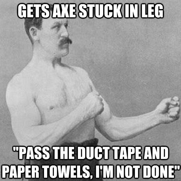Gets axe stuck in leg