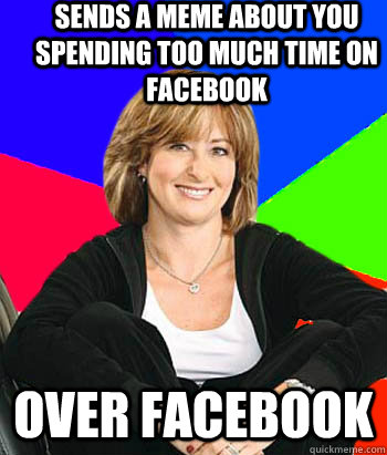 sends a meme about you spending too much time on facebook over facebook - sends a meme about you spending too much time on facebook over facebook  Sheltering Suburban Mom
