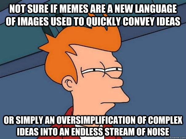 Not sure if memes are a new language of images used to quickly convey ideas Or simply an oversimplification of complex ideas into an endless stream of noise - Not sure if memes are a new language of images used to quickly convey ideas Or simply an oversimplification of complex ideas into an endless stream of noise  Futurama Fry