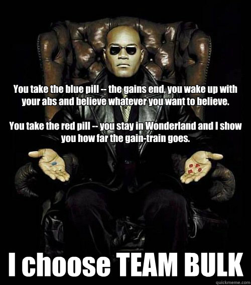 You take the blue pill -- the gains end, you wake up with your abs and believe whatever you want to believe.   You take the red pill -- you stay in Wonderland and I show you how far the gain-train goes. I choose TEAM BULK
