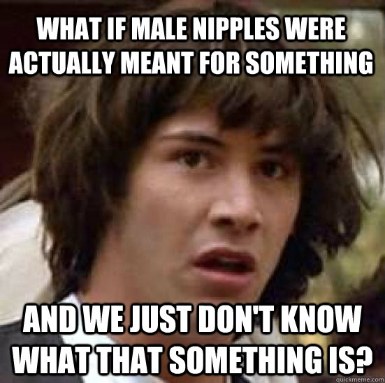 What if Male Nipples were actually meant for something and we just don't know what that something is?  conspiracy keanu