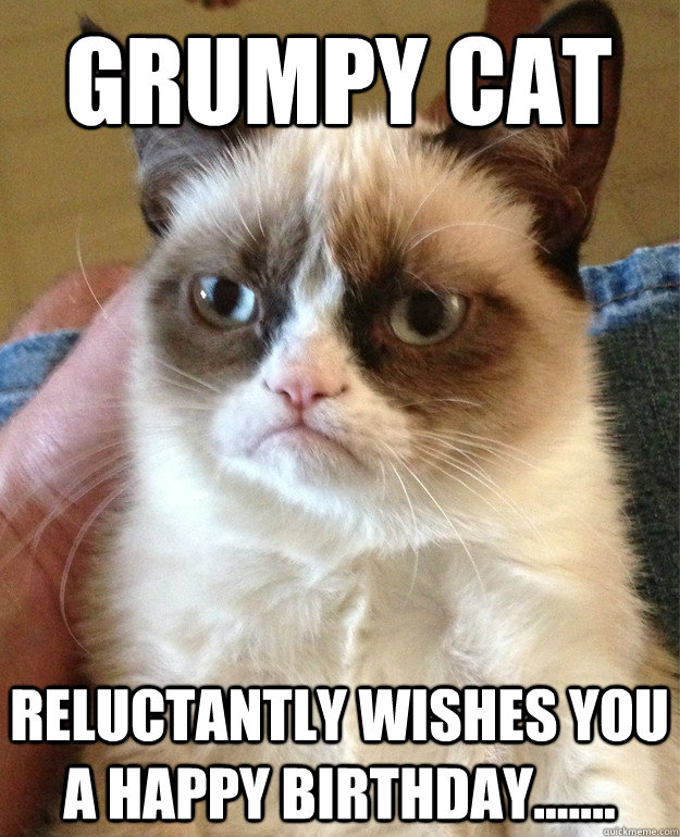 Grumpy Cat reluctantly wishes you a happy birthday.......
