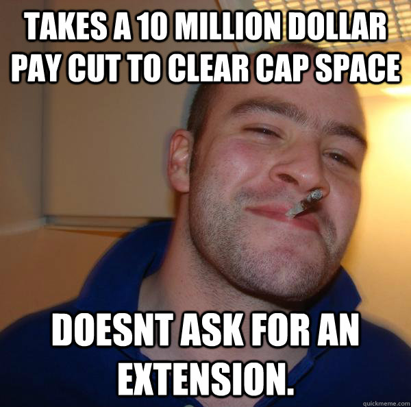 takes a 10 million dollar pay cut to clear cap space Doesnt ask for an extension. - takes a 10 million dollar pay cut to clear cap space Doesnt ask for an extension.  Misc