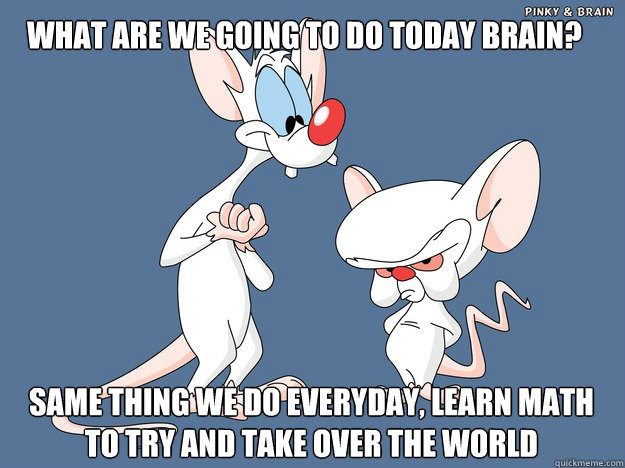 What are we going to do today brain? same thing we do everyday, learn math to try and take over the world - What are we going to do today brain? same thing we do everyday, learn math to try and take over the world  Pinky and the Brain