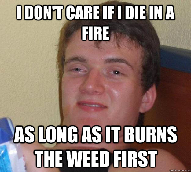 I don't care if I die in a fire as long as it burns the weed first - I don't care if I die in a fire as long as it burns the weed first  10 Guy