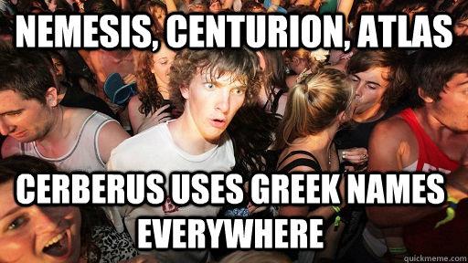 NEMESIS, CENTURION, ATLAS CERBERUS USES GREEK NAMES EVERYWHERE