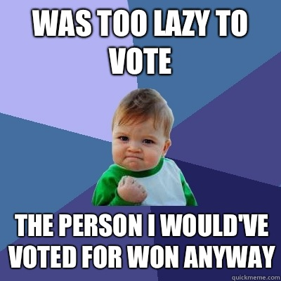 Was too lazy to vote The person I would've voted for won anyway - Was too lazy to vote The person I would've voted for won anyway  Success Kid