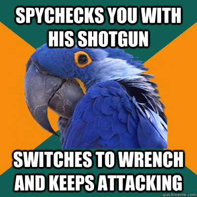 spychecks you with his shotgun switches to wrench and keeps attacking - spychecks you with his shotgun switches to wrench and keeps attacking  Paranoid Parrot