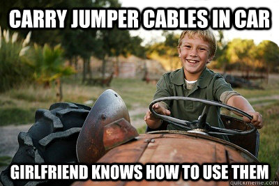 carry jumper cables in car girlfriend knows how to use them