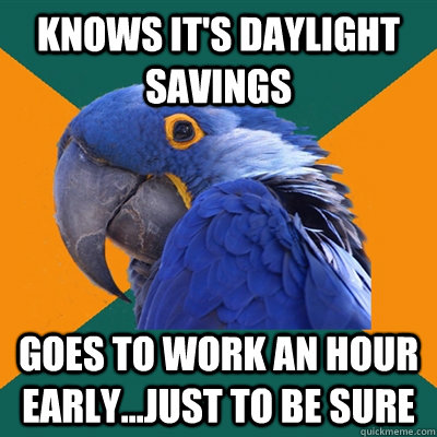 knows it 39 s daylight savings goes to work an hour early just to be sure paranoid parrot. Black Bedroom Furniture Sets. Home Design Ideas