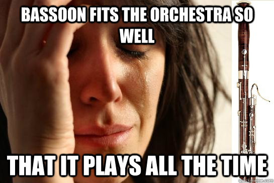 bassoon fits the orchestra so well that it plays all the time   First Chair Problems bassoon