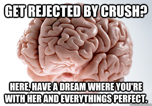 Get rejected by crush? here, have a dream where you're with her and everythings perfect. - Get rejected by crush? here, have a dream where you're with her and everythings perfect.  Scumbag Brain