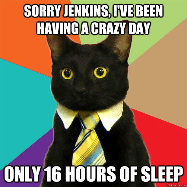 sorry jenkins, I've been having a crazy day only 16 hours of sleep - sorry jenkins, I've been having a crazy day only 16 hours of sleep  Business Cat