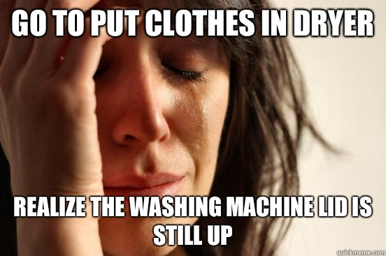 Go to put clothes in dryer Realize the washing machine lid is still up - Go to put clothes in dryer Realize the washing machine lid is still up  First World Problems