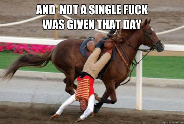 And  not a single fuck was given that day  Horse Riding Fail