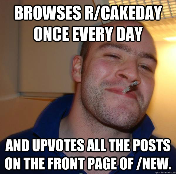Browses r/cakeday once every day and upvotes all the posts on the front page of /new. - Browses r/cakeday once every day and upvotes all the posts on the front page of /new.  Misc