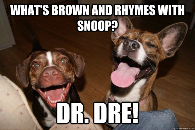 What's brown and rhymes with Snoop? Dr. Dre! - What's brown and rhymes with Snoop? Dr. Dre!  Clean Joke Puppies
