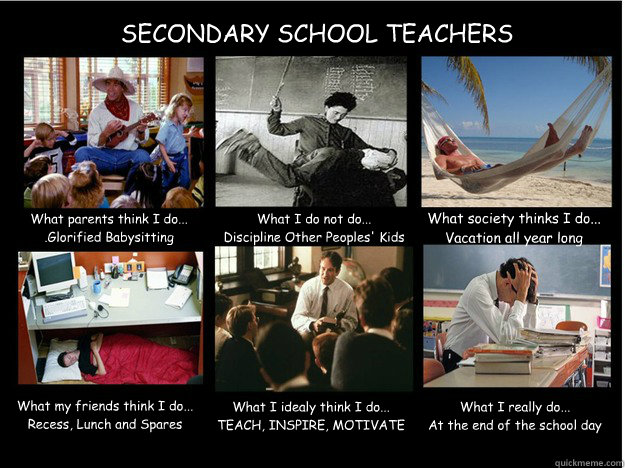 SECONDARY SCHOOL TEACHERS What parents think I do... .Glorified Babysitting What I do not do... Discipline Other Peoples' Kids What society thinks I do... Vacation all year long What my friends think I do... Recess, Lunch and Spares What I idealy think I