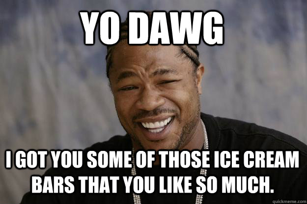 YO DAWG I got you some of those ice cream bars that you like so much. - YO DAWG I got you some of those ice cream bars that you like so much.  Xzibit meme