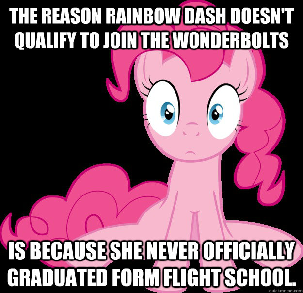 The reason Rainbow Dash doesn't qualify to join the Wonderbolts Is because she never officially graduated form flight school.