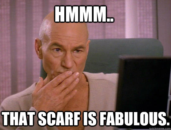 hmmm.. that scarf is fabulous. - hmmm.. that scarf is fabulous.  Gay Picard