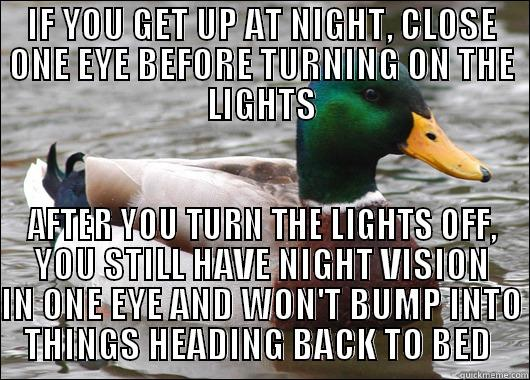 IF YOU GET UP AT NIGHT, CLOSE ONE EYE BEFORE TURNING ON THE LIGHTS AFTER YOU TURN THE LIGHTS OFF, YOU STILL HAVE NIGHT VISION IN ONE EYE AND WON'T BUMP INTO THINGS HEADING BACK TO BED  Actual Advice Mallard