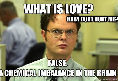 645122db862a699b079571b2e9698c79415f9bcea1cf98453671a5a9f6dc9432 what is love? false a chemical imbalance in the brain baby dont