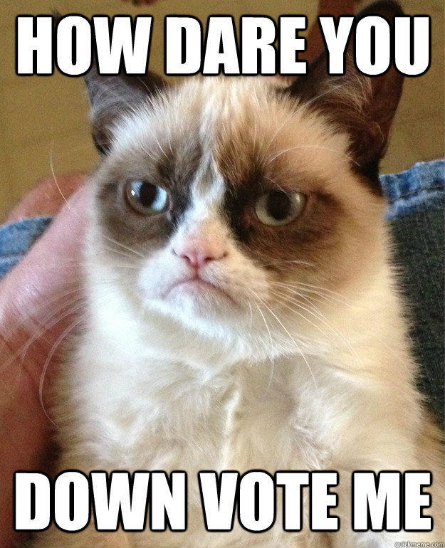 How dare you Down vote me - How dare you Down vote me  Grumpy Cat
