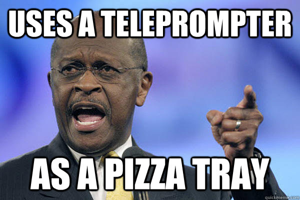 uses a teleprompter as a pizza tray