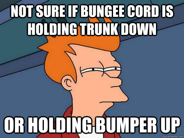 Not sure If bungee cord is holding trunk down Or holding bumper up - Not sure If bungee cord is holding trunk down Or holding bumper up  Futurama Fry