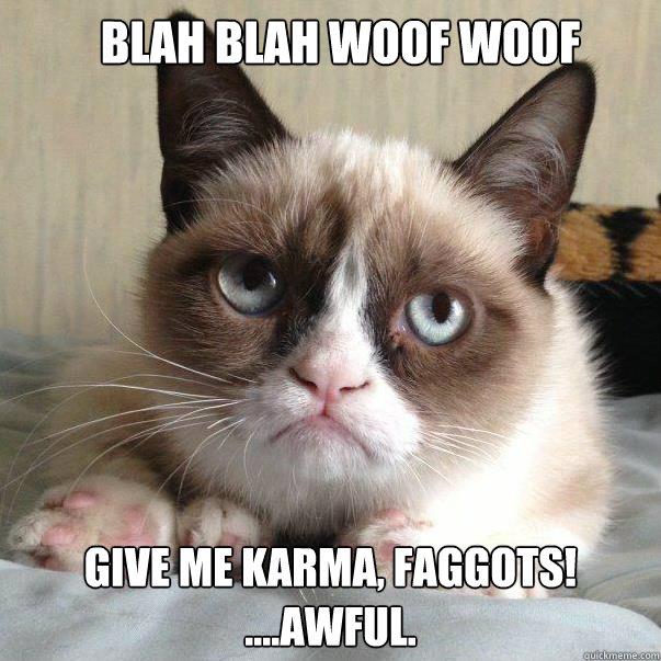 BLAH BLAH WOOF WOOF Give me karma, faggots! ....awful. - BLAH BLAH WOOF WOOF Give me karma, faggots! ....awful.  grumpy cat fifa