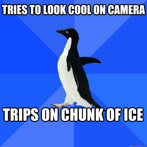 Tries to look cool on camera trips on chunk of ice - Tries to look cool on camera trips on chunk of ice  Socially Awkward Penguin