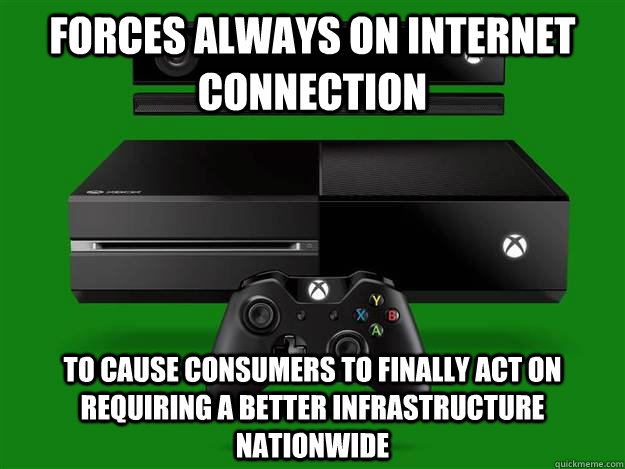 Forces always on internet connection to cause consumers to finally act on requiring a better infrastructure nationwide  Good Guy Microsoft