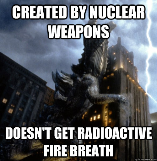 Created by nuclear weapons Doesn't get radioactive fire breath - Created by nuclear weapons Doesn't get radioactive fire breath  Bad Luck Zilla