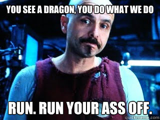 you see a Dragon, you do what we do run. Run your ass off.