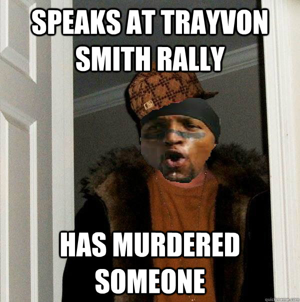 speaks at trayvon smith rally has murdered someone