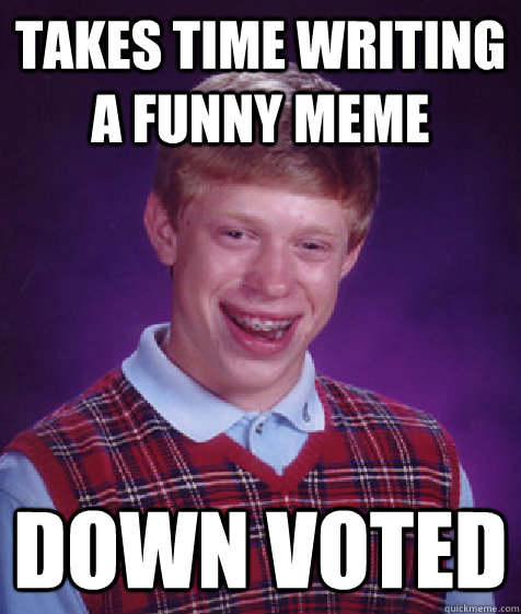 takes time writing a funny meme down voted - takes time writing a funny meme down voted  Bad Luck Brian