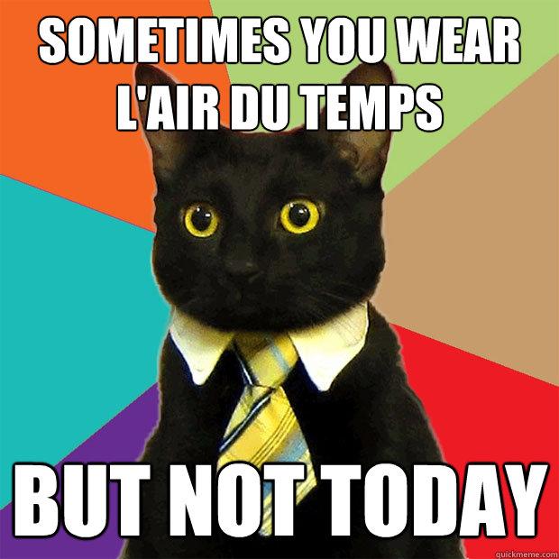 sometimes you wear l'air du temps but not today  Business Cat